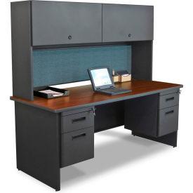 "Marvel® Steel Desk w/ Hutch - Double Pedestal-72""W x 30""D - Dark Neutral/Slate - Pronto Series"