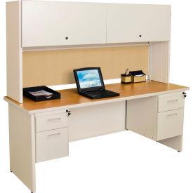 "Marvel® Steel Desk w/ Hutch - Double Pedestal-72""W x 30""D - Putty/Beryl - Pronto Series"