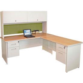 "Marvel® L Desk w/ Hutch - Double Pedestal - 72""W x 78""D - Putty/Peridot - Pronto Series"