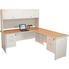 "Marvel® L Desk w/ Hutch - Double Pedestal - 72""W x 78""D - Putty/Chalk - Pronto Series"
