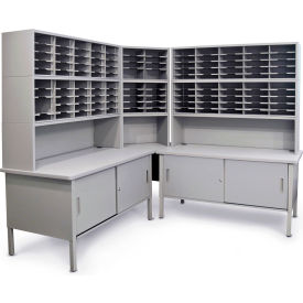 Marvel 120 Slot Corner Literature Organizer with Cabinet Slate Gray by