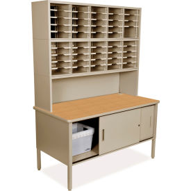 """Marvel 50 Adjustable Slot Literature Organizer with Riser and Cabinet, 84""""H x 60""""W, Putty by"""