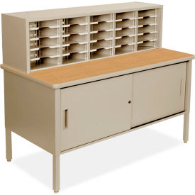 """Marvel 25 Adjustable Slot Literature Organizer with Cabinet, 52""""H x 60""""W, Putty by"""