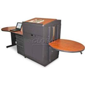 Marvel Teacher's Desk w/ Media Center, Steel Door - Dark Neutral /Cherry Laminate