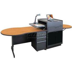 Marvel Instructor's Desk and Media Center, Acrylic Door - Dark Neutral Finish/Oak Laminate