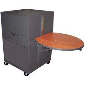 Media Center Cart With Steel Door - Dark Neutral Finish/Cherry Laminate