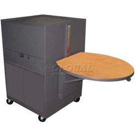 Media Center Cart With Steel Door - Dark Neutral Finish/Oak Laminate