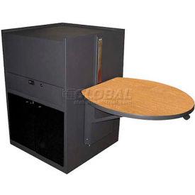 Media Center Cart With Acrylic Door (Stationary) - Dark Neutral Finish/Oak Laminate