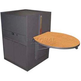 Media Center Cart With Steel Door (Stationary) - Dark Neutral Finish/Oak Laminate