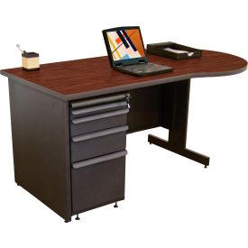 "Marvel® - 60""W Teachers Conference Desk, Dark Neutral/Mahogany"