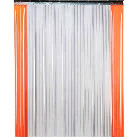 "TMI Low Temperature Strip Door SD21-12-10X12 - 10'W x 12'H - 12"" Ribbed Clear PVC"