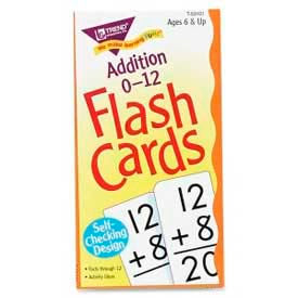"Trend® Math Addition 0-12 Flash Cards, 3"" x 6"", 91 Cards/Box"