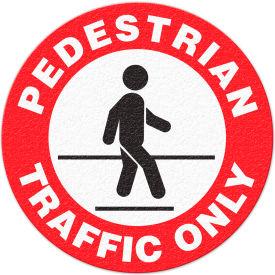 """Anti-Slip Safety Floor Sign, Pedestrian Traffic Only, Red/White/Black, 17""""Dia., FS1023V"""