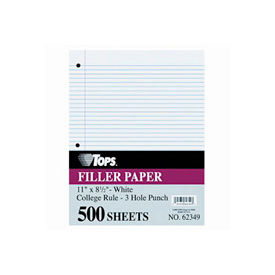"Mediumweight 16-Lb. Filler Paper, 11x8-1/2, 5/16"" College Rule, 500 Sheets/Pack"