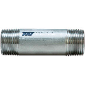 "Trenton Pipe 3/8"" x 4"" Seamless Pipe Nipple, Schedule 80, 304 Stainless Steel - Pkg Qty 25"