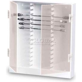 "TrippNT™ White PVC Lockable 30 Column HPLC Storage Cabinet with Clear Doors, 16""W x 3""D x 17""H"