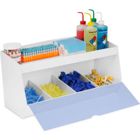 """TrippNT™ Storage Bin with 4 Compartments and 1 Shelf, Blue Acrylic Door, 24""""W x 10""""D x 13""""H"""