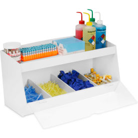 """TrippNT™ Storage Bin with 4 Compartments and 1 Shelf, Clear Acrylic Door, 24""""W x 10""""D x 13""""H"""