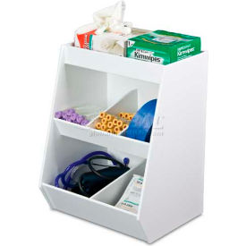 """TrippNT™ White Lab Storage Bin with 5 Fixed Compartments and 1 Shelf, 12""""W x 10""""D x 16""""H"""