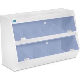 """TrippNT™ White Lab Storage with 10 Bins and 1 Shelf, Blue Acrylic Doors, 24""""W x 11""""D x 16""""H"""