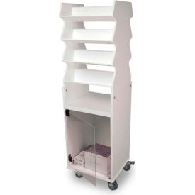 TrippNT™ White Tall Slanted Suture Cart with Bulk Storage Area, Clear Acrylic Door