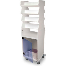 TrippNT™ White Tall Slanted Suture Cart with Bulk Storage Area, Blue Acrylic Door