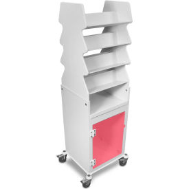 TrippNT™ White Tall Slanted Suture Cart with Bulk Storage Area, Red Acrylic Door