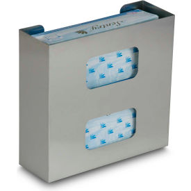 """TrippNT™ Double Stainless Steel Glove Box Holder, 10""""W x 4""""D x 10""""H"""