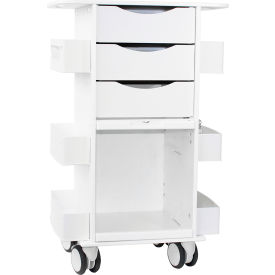 """TrippNT™ Deluxe Medical Cart with Clear Sliding Door, White, 23""""W x 19""""D x 35""""H"""