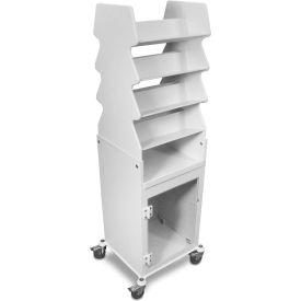 "TrippNT™ 51019 White Tall Titled Shelf Cart with Bulk Storage Area, 19""W x 17""D x 57""H"