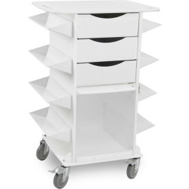 "TrippNT™ 51023 White Polyethylene Core CS Side Bins Cart, 27""W x 19""D x 36""H"
