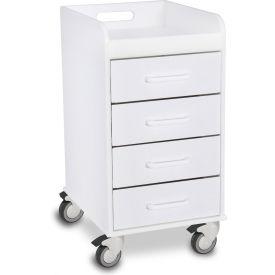 "TrippNT™ 51032 Compact 4 Drawer Locking Medical Cart, White, 14""W x 19""D x 27""H"