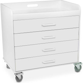 """TrippNT™ 51041 Extra Wide Compact 4 Drawer Locking Cart, White, 27""""W x 19""""D x 27""""H"""