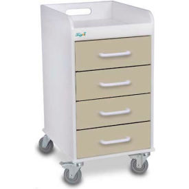 "TrippNT™ 51087 Compact 4 Drawer Locking Medical Cart, Almond Beige, 14""W x 19""D x 27""H"