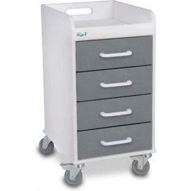 "TrippNT™ 51088 Compact 4 Drawer Locking Medical Cart, Silver Metallic, 14""W x 19""D x 27""H"