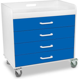"""TrippNT™ 51131 Extra Wide Compact 4 Drawer Locking Cart, Global Blue, 27""""W x 19""""D x 27""""H"""