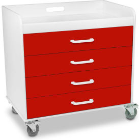 """TrippNT™ 51132 Extra Wide Compact 4 Drawer Locking Cart, Cherry Red, 27""""W x 19""""D x 27""""H"""