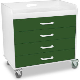 "TrippNT™ 51135 Extra Wide Compact 4 Drawer Locking Cart, Hosta Leaf Green, 27""W x 19""D x 27""H"
