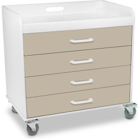 "TrippNT™ 51138 Extra Wide Compact 4 Drawer Locking Cart, Almond Beige, 27""W x 19""D x 27""H"