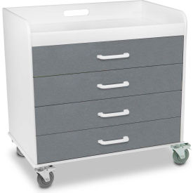 """TrippNT™ 51139 Extra Wide Compact 4 Drawer Locking Cart, Silver Metallic, 27""""W x 19""""D x 27""""H"""