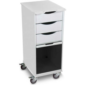 "TrippNT™ White Core SP Space Saving Lab Cart with Smoke Sliding Door, 15""W x 19""D x 35""H"