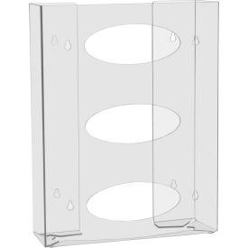"TrippNT™ 51145 Triple Two Sided Clear Glove Box Holder, PETG Plastic, 11""W x 4""D x 15""H"
