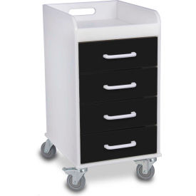 "TrippNT™ 51146 Compact 4 Drawer Locking Medical Cart, Black, 14""W x 19""D x 27""H"