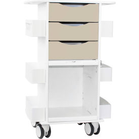 """TrippNT™ Deluxe Medical Cart with Clear Sliding Door, Almond Beige, 23""""W x 19""""D x 35""""H"""