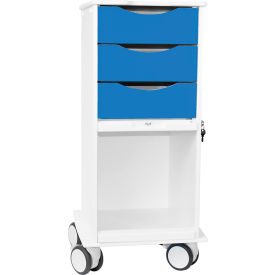 """TrippNT™ Core SP Space Saving Lab Cart with Clear Sliding Door, 15""""W x 19""""D x 35""""H, Global Blue"""