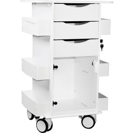 "TrippNT™ White Deluxe Medical Cart with Clear Swinging Hinged Door, 23""W x 19""D x 35""H"