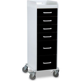 "TrippNT™ 51355 Tall Locking 6 Drawer Medical Cart, Black, 16""W x 19""D x 47""H"
