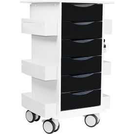"TrippNT™ Core Locking 6 Drawer Lab Cart, 23""W x 19""D x 35""H, Black"