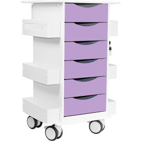 "TrippNT™ Core Locking 6 Drawer Lab Cart, 23""W x 19""D x 35""H, Gum Drop Purple"