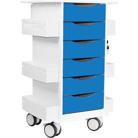 "TrippNT™ Core Locking 6 Drawer Lab Cart, 23""W x 19""D x 35""H, Global Blue"